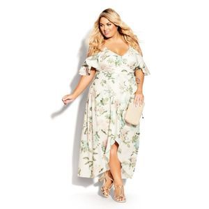 City Chic Tender Floral Maxi Dress Ivory 16